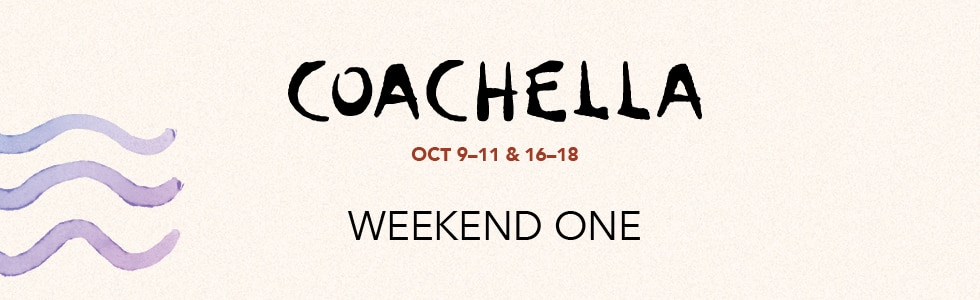 Coachella 2020 Weekend One Header, October 9-11 and 16-18